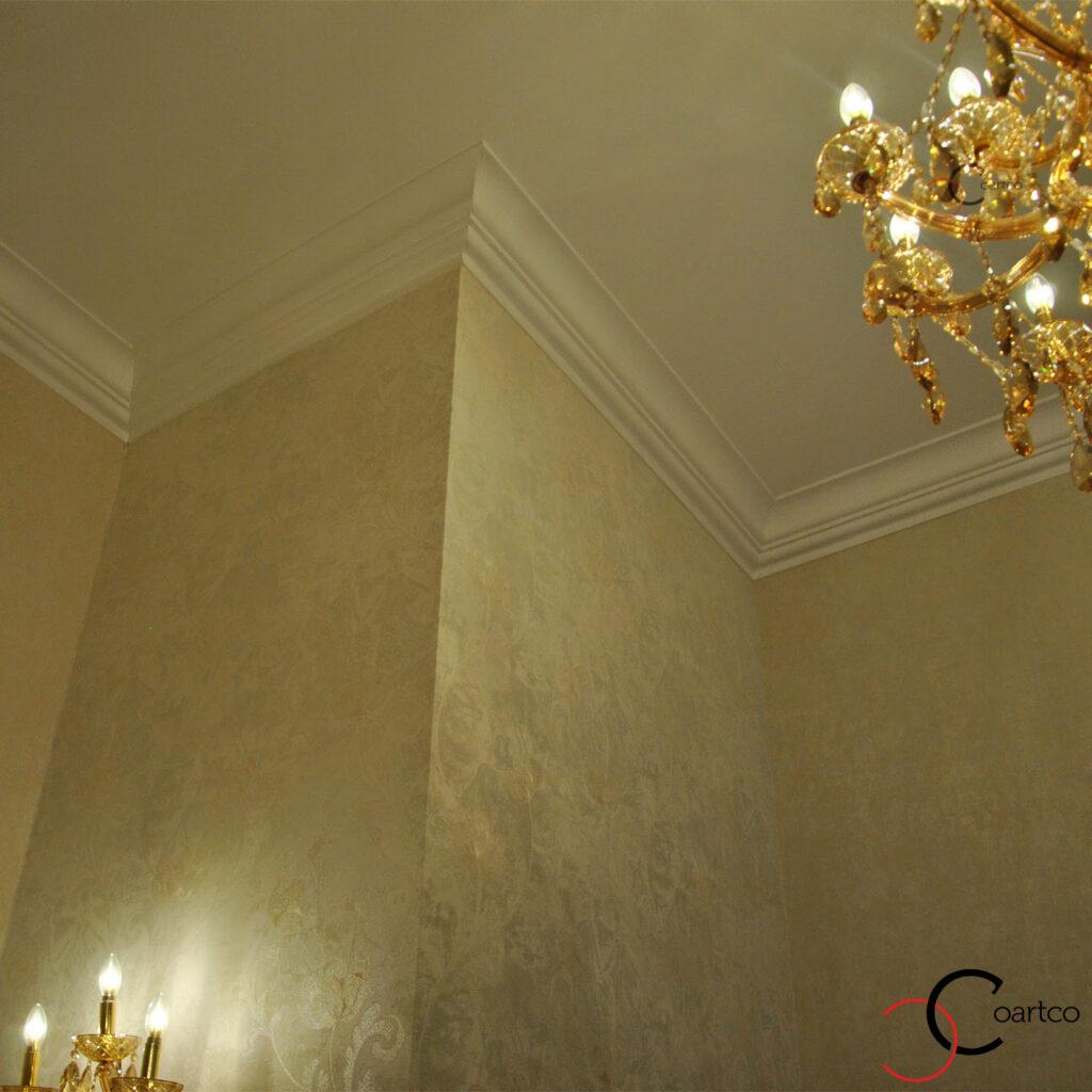 cornisa polistiren interior sala nunti, delimitare tavan , profil colt din polistiren
