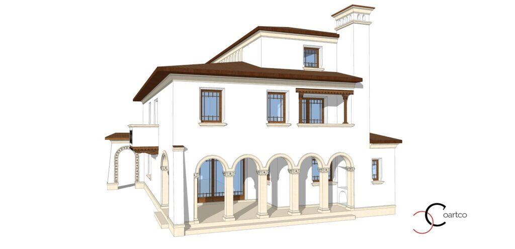 Model Arhitect , Vedere spate, fatade case