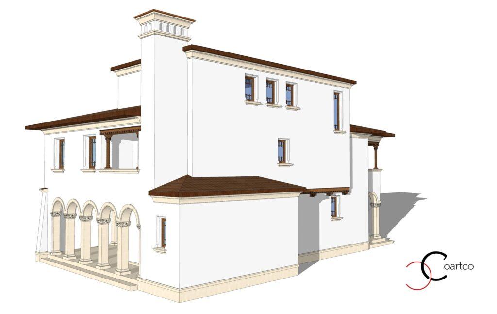 Model Arhitect , Vedere Lateral Spate, fatada casa, profile decorative