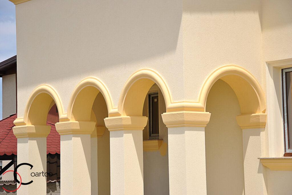 arcade, arcada, coloane, coloane cu arcada, coloane polistiren, profile decorative, fatade case, fatada casa