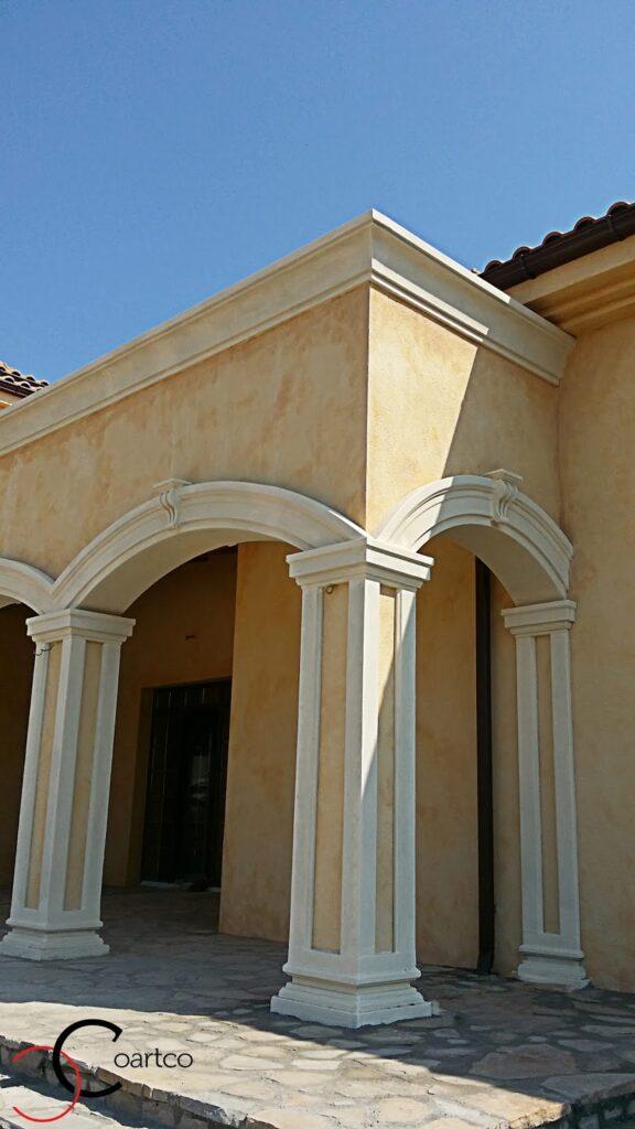 fatade case, fatada casa, arcada casa, arcade decorative, casa cu arcada, coloane, coloana, coloane polistiren