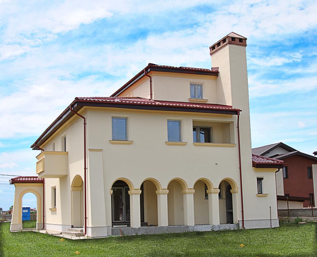 arcade, coloane, cornisa, horn, ancadrament, fatada casa montate pe fatada casei