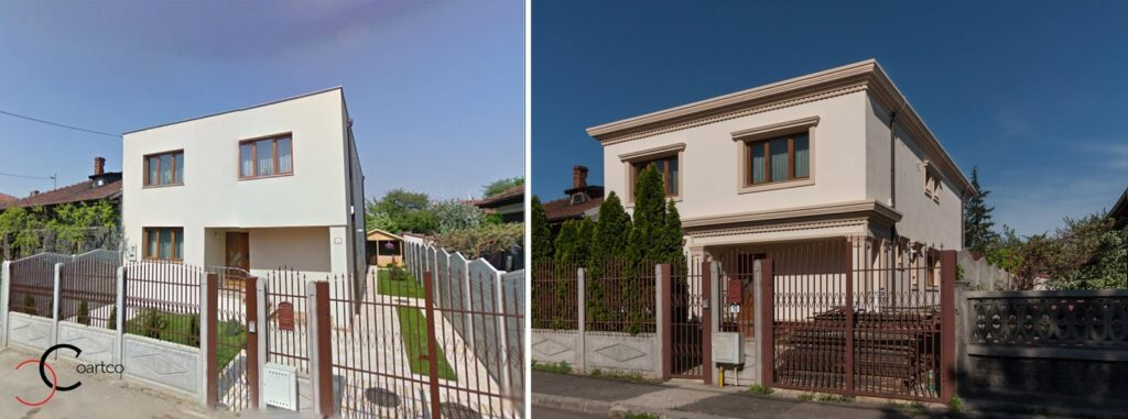 Comparatie inainte si dupa a fatadei casei cu profile decorative din polistiren CoArtCo