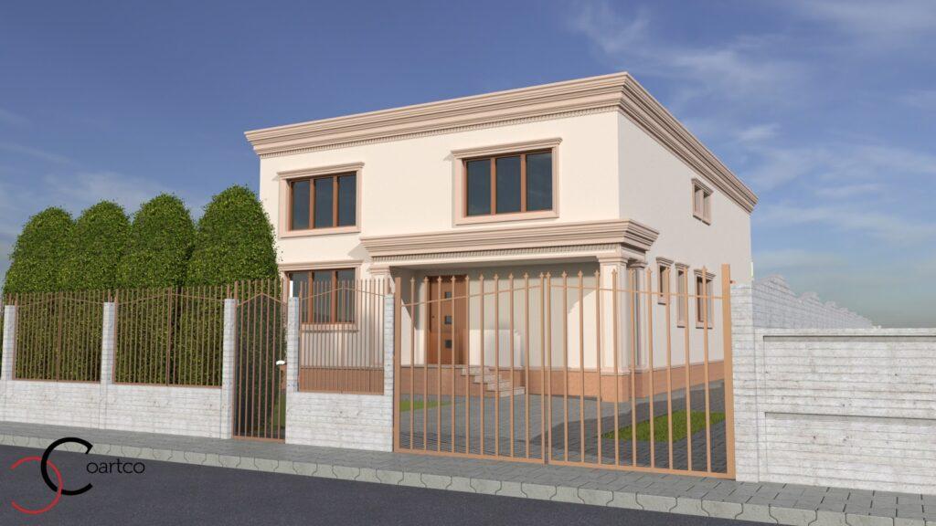 Serviciu de Simulare Design Fatada Casa cu Profile Decorative CoArtCo
