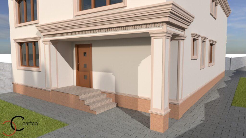 Serviciu simulare design fatada casa cu profile decorative CoArtCo