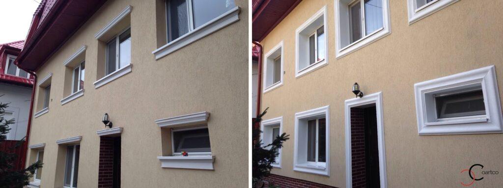 Fatada Casa Inainte si Dupa Montarea Profilelor Decorative din Polistiren CoArtCo