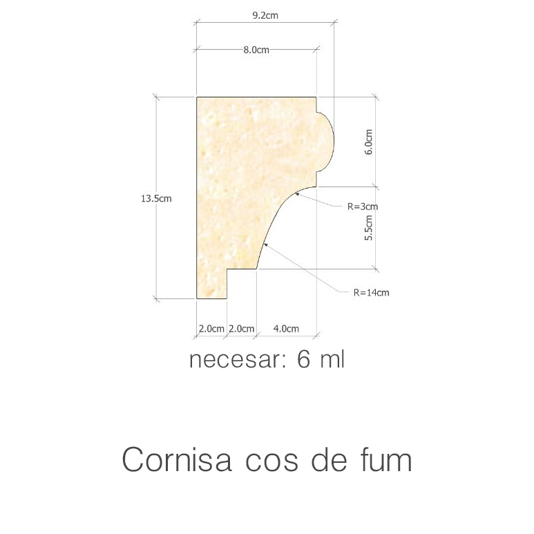 Profil Cornisa cos de fum necesar 6ml