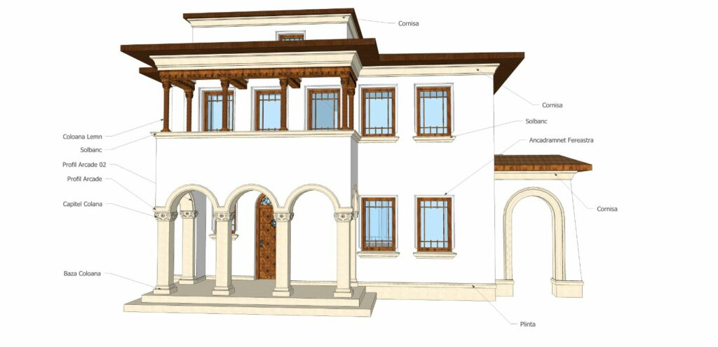 Proiect Design Fatada Casa cu Profile Decorative din Polistiren CoArtCo