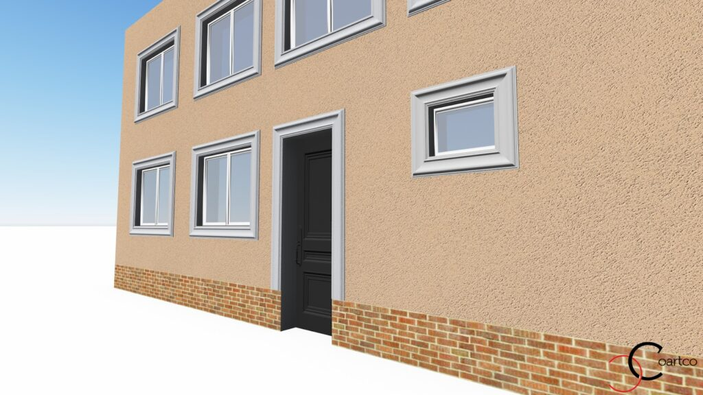 Randare 3D Simulare Fatada Casa cu Profile Decorative CoArtCo