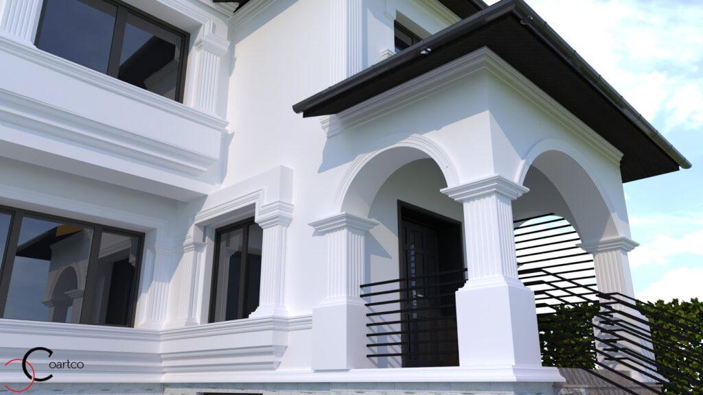 Simulare design fatada casa cu profile decorative din polistiren coartco pentru exterior