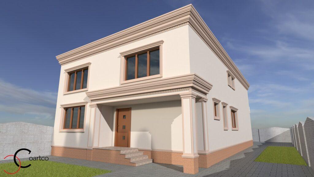 Simulare design fatada casa cu profile decorative din polistiren CoArtCo