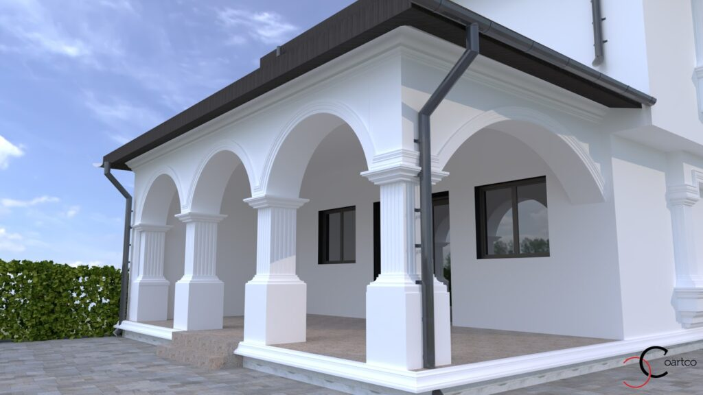 Simulare 3D fatada casa cu profile decorative din polistiren CoArtCo