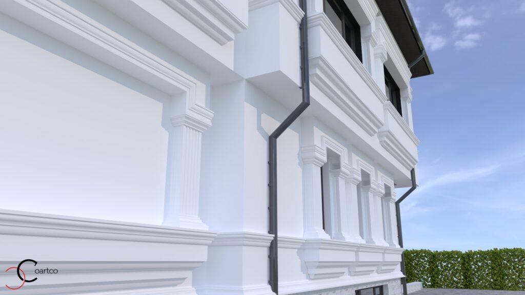 Simulare fatada casa cu profile decorative CoArtCo