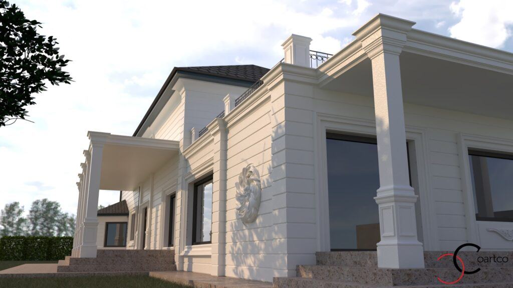 Simulare design 3D fatada casa cu profile decorative CoArtCo