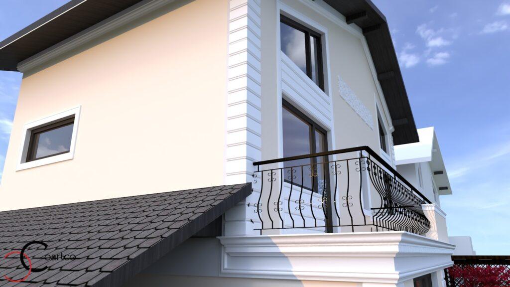 Simulare design 3D fatada casa cu profile decorative CoArtCo
