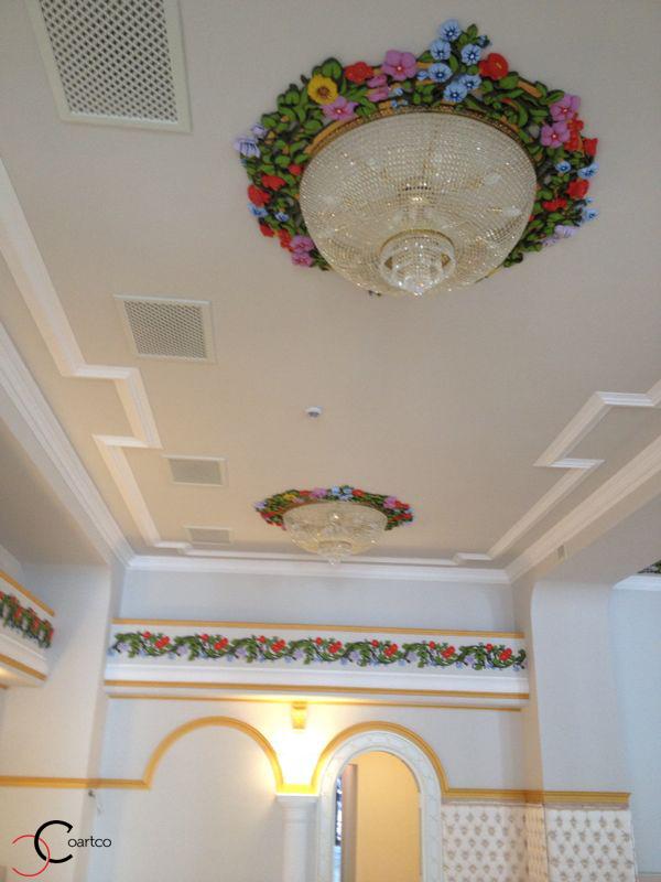 Profile decorative pentru tavan rozeta cu flori din polistiren CoArtCo