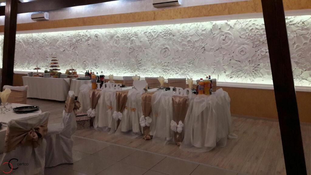 Panouri decorative cu flori din polistiren pentru sali de nunti si saloane de evenimente