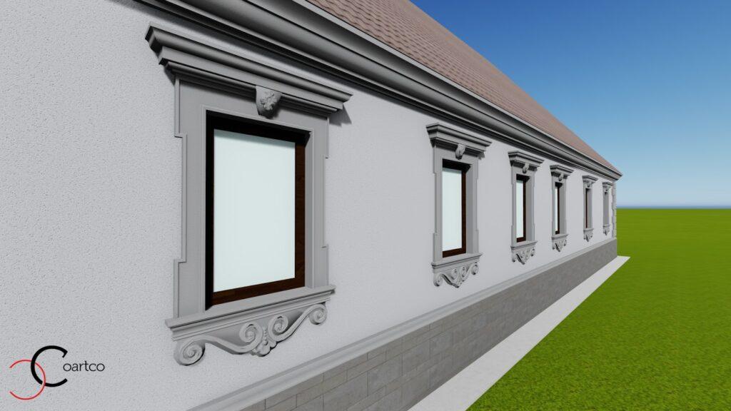 Simulare design fatada casa cu profile decorative personalizate CoArtCo