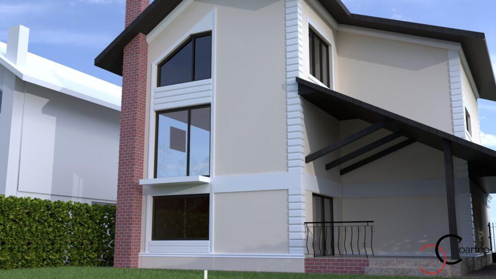 Simulare 3D fatada casa cu profile CoArtCo