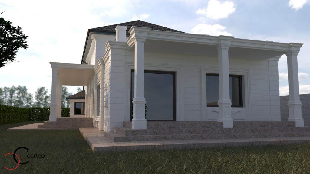 Simulare 3D fatada casa cu profile decorative CoArtCo