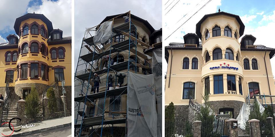 Transformare fatada pensiune Casa Dunarea din Predeal cu Profile Decorative din Polistiren CoArtCo