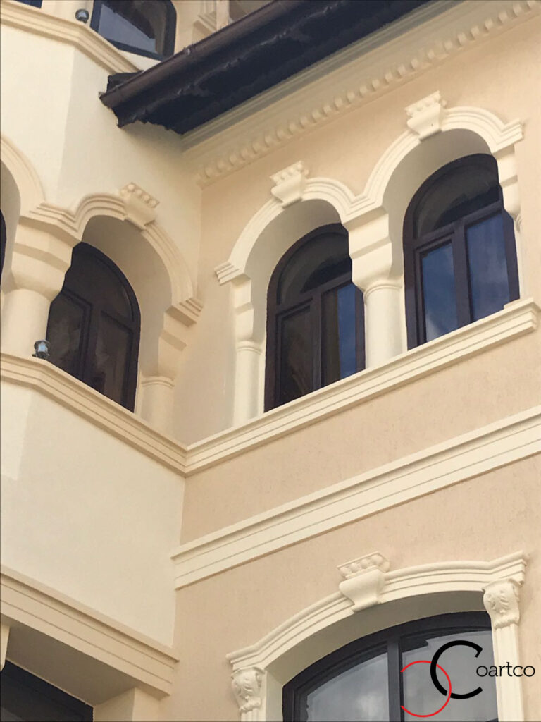 Ancadramente ferestre cu arcada si chei de bolta cu brau decorativ din polistiren CoArtCo