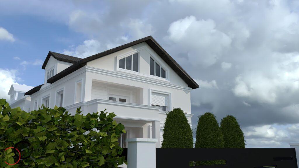 Simulare fatada casa cu profile decorative din polistiren CoArtCo