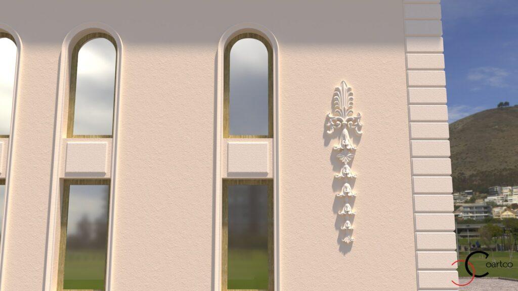 Simulare 3D salon evenimente proiect fatada cu profile decorative CoArtCo