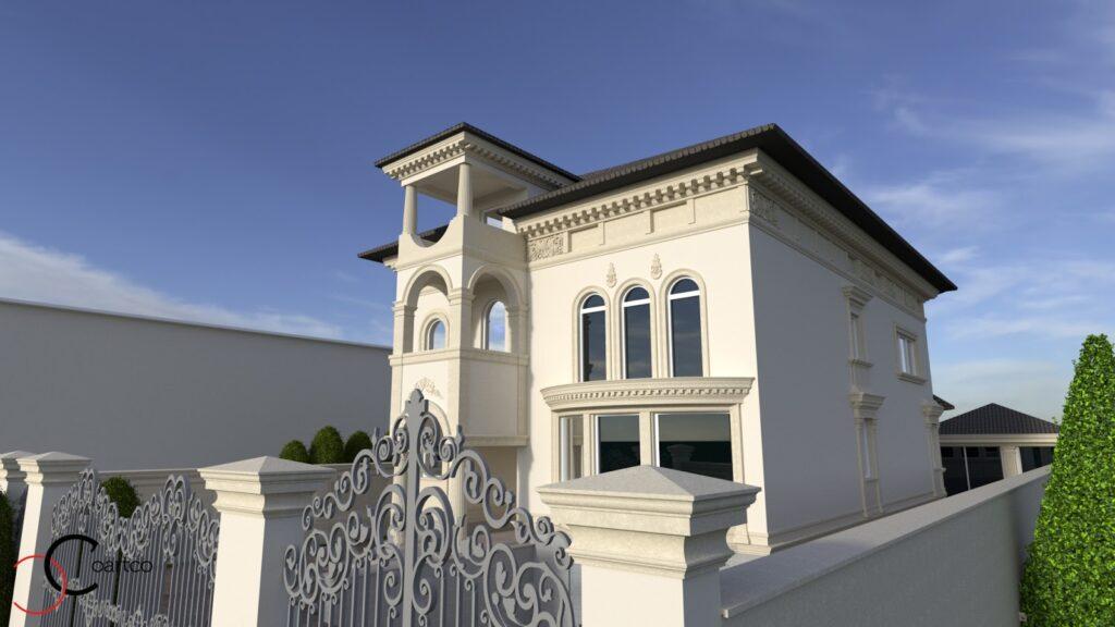 Simulare design fatada casa cu profile decorative CoArtCo