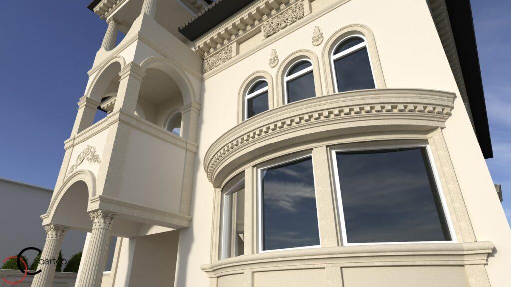 Simulare 3D fatada casa cu profile decorative CoArtCo