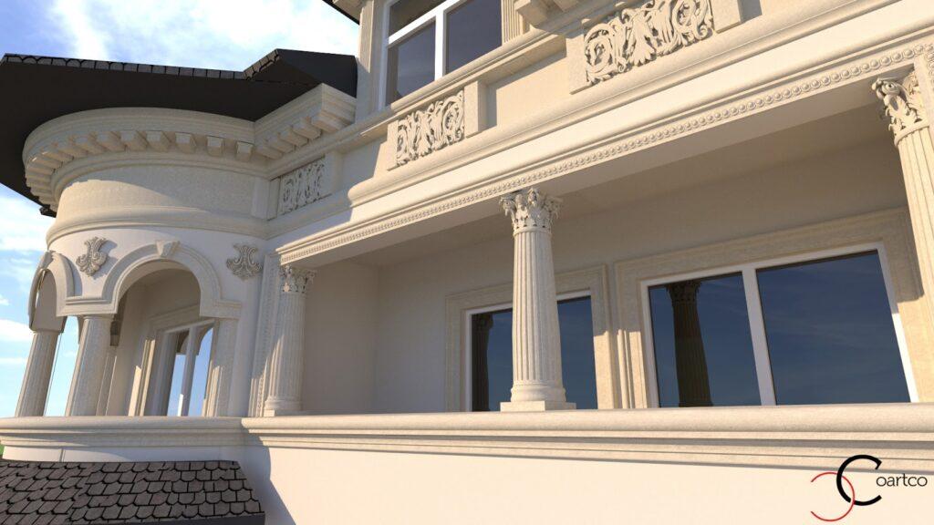 Simulare 3D fatada casa cu profile din polistiren CoArtCo
