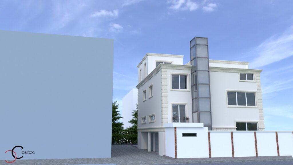 Serviciu design 3D simulare fatada casa cu profile decorative CoArtCo