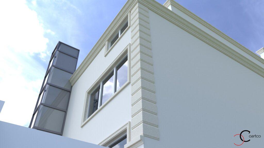 Simulare 3D fatada casa cu profile personalizate CoArtCo