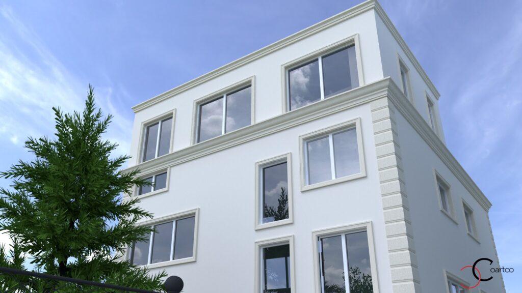 Simulare 3D fatada casa cu profile personalizate din polistiren CoArtCo
