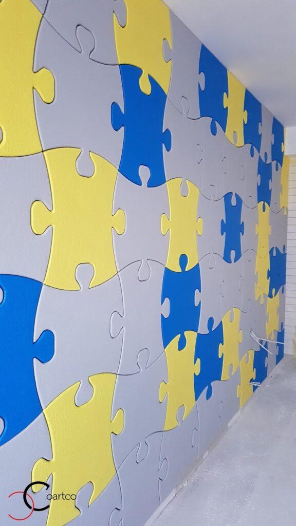 Perete cu piese puzzle din polistiren personalizate CoArtCo