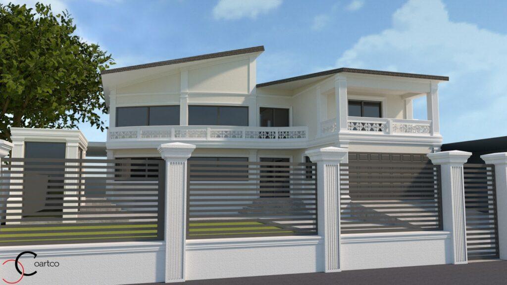 Serviciu suplimentar randare 3D fatada casa cu profile decorative CoArtCo