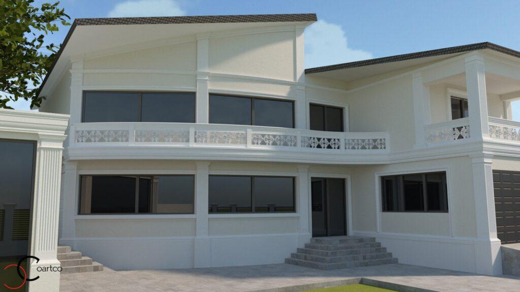 Randare 3D fatada casa cu profile decorative CoArtCo