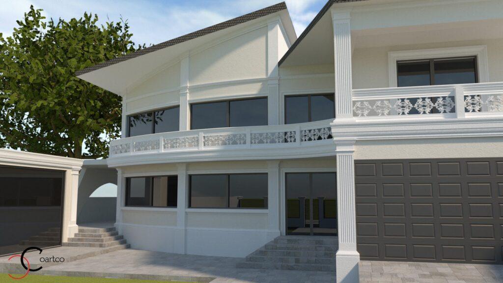 Serviciu suplimentar randare 3D fatada casa cu profile din polistiren CoArtCo
