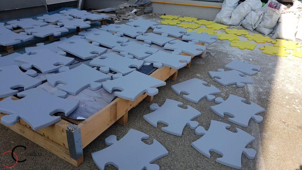 Panou decorativ din polistiren CoArtCo in forma de piese de puzzle