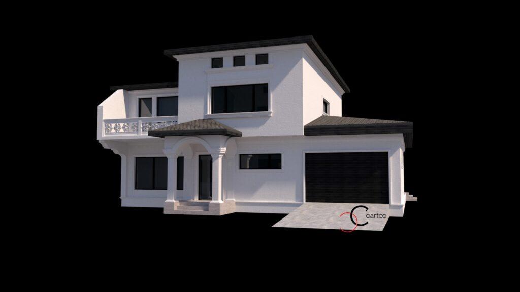 Serviciu suplimentar simulare 3D fatada casa cu profile din polistiren CoArtCo