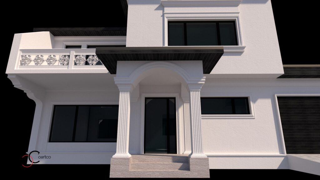 Simulare 3D intrare casa cu profile decorative CoArtCo