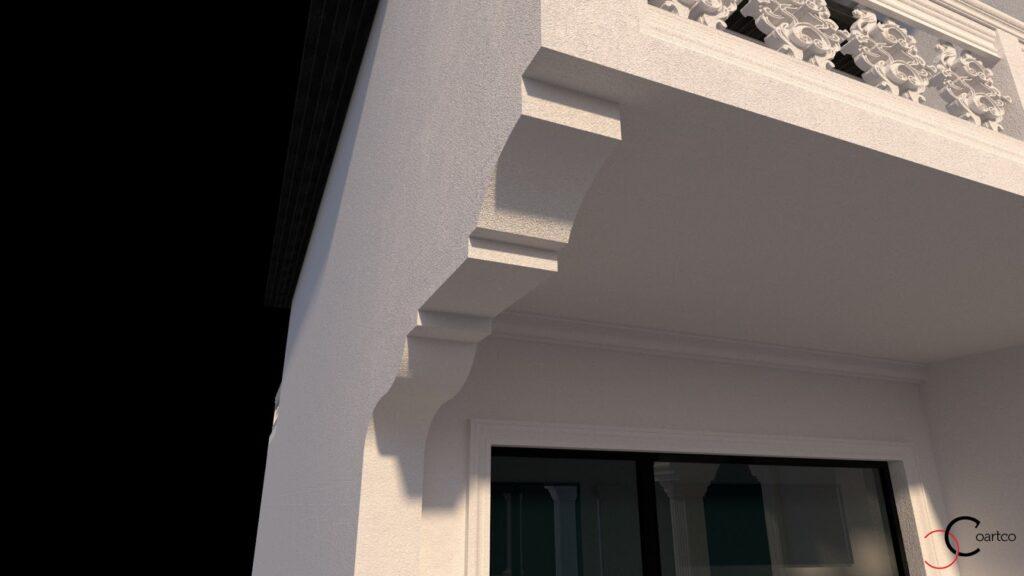 Simulare 3D intrare casa cu profile decorative din polistiren CoArtCo