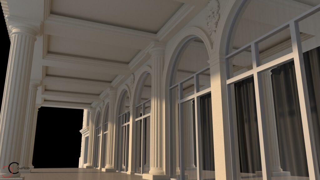 Ancadramente ferestre cu arcada pilastri terasa jumatate stalpi