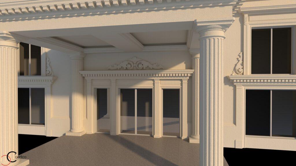 Element decorativ fatada salon nunti Videle coloane