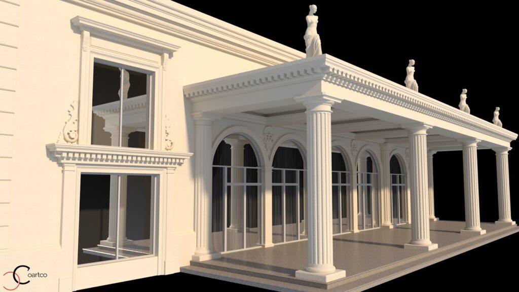 Terasa coloane grecesti statui