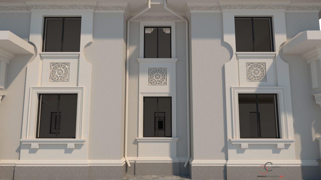 casa cu elemente arhitecturale neoromanesti realizate din polistiren