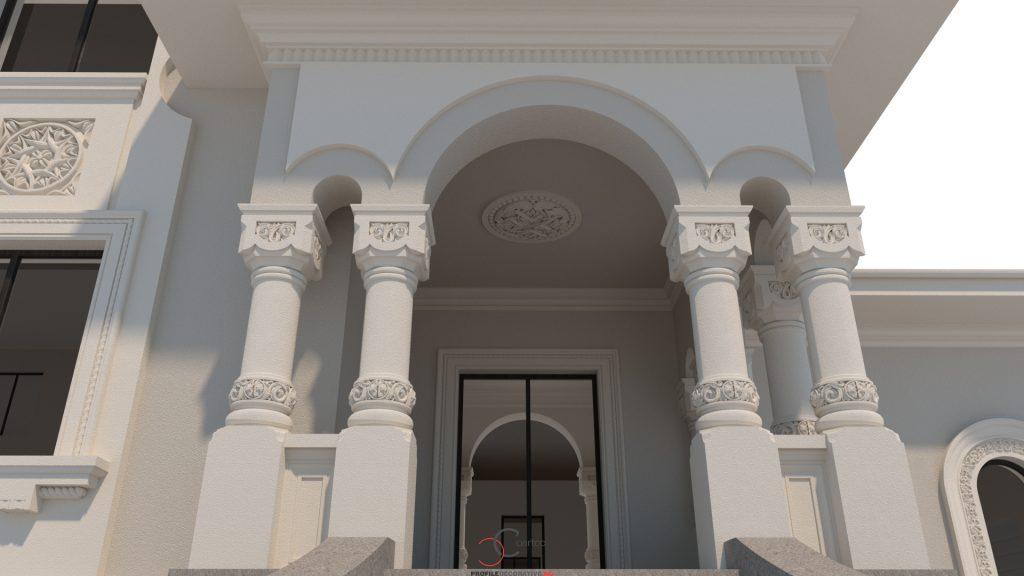 casa model arhitectural cu terasa coloane si arcade stil neoromanesc