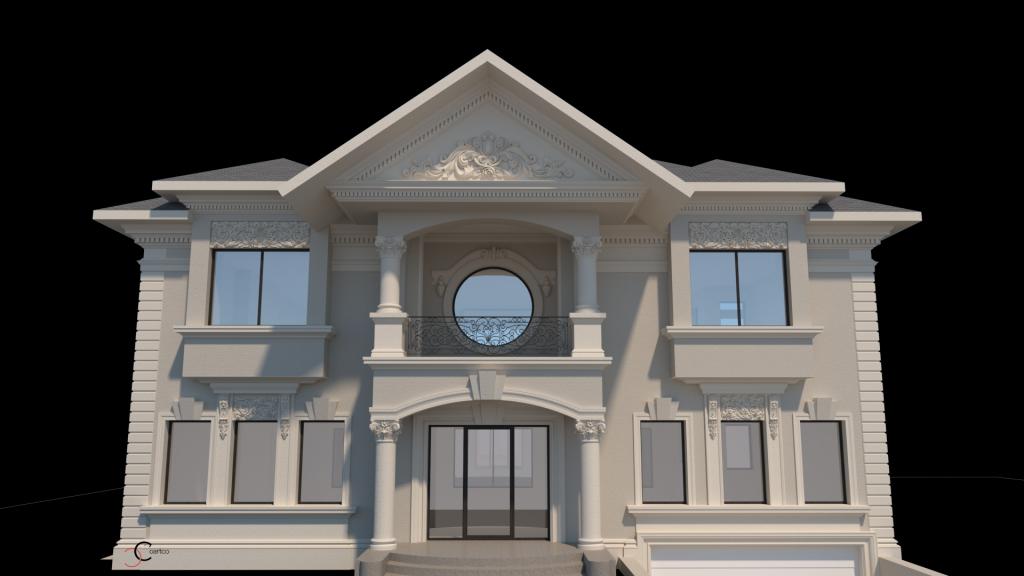 casa impresionanta cu coloane decorative grecesti