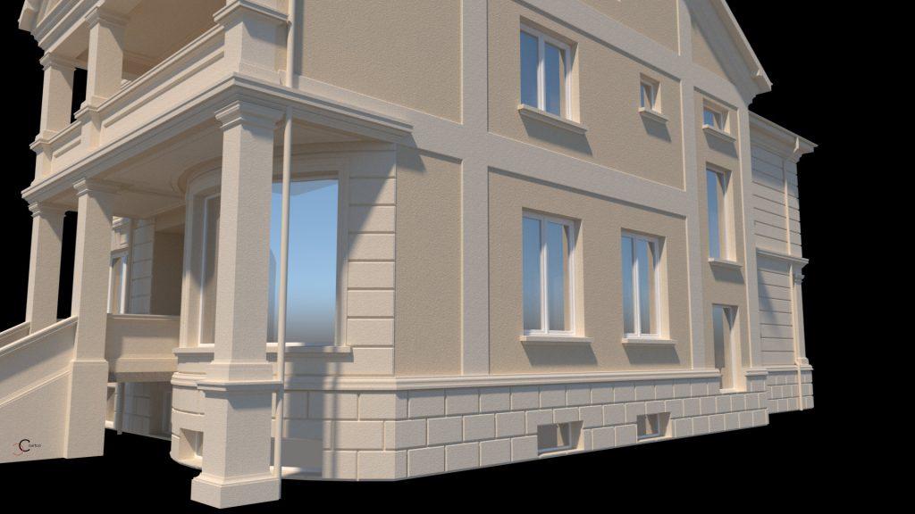 proiecte fatada case designe cu fronton si stucatura