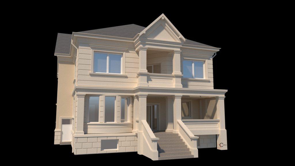 amenajare fatadei case cu profile decorative din polistiren